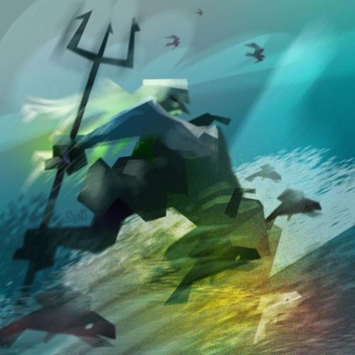 ahti veden jumala atrain tanassa, kuvittaja / illustrator Petri Suni