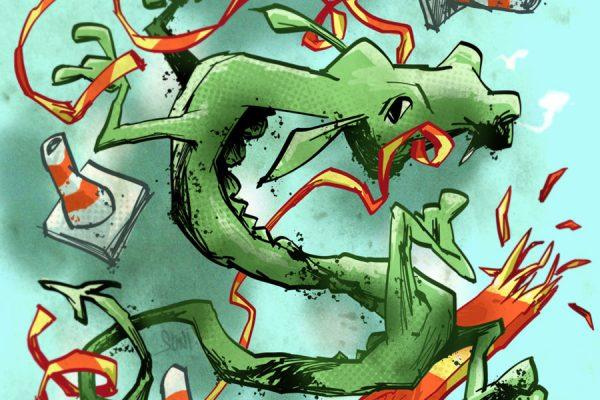 lohikäärme liikenteessä, kuvittaja / illustrator Petri Suni