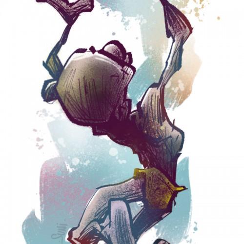 klonkku kala hyppysissä, kuvittaja / illustrator Petri Suni