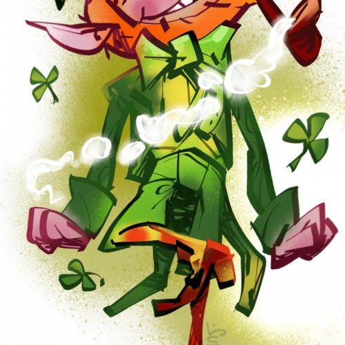 lerachaun tanssii ja polttaa piippua, kuvittaja / illustrator Petri Suni