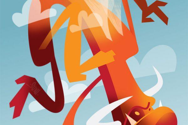 sarvekas ja siivekäs otus taivaalla, kuvittaja / illustrator Petri Suni