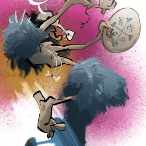 poppamies hakkaa rumpua, kuvittaja / illustrator Petri Suni