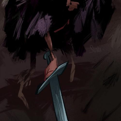 viikinkipoika pitelee miekkaa, kuvittaja / illustrator Petri Suni