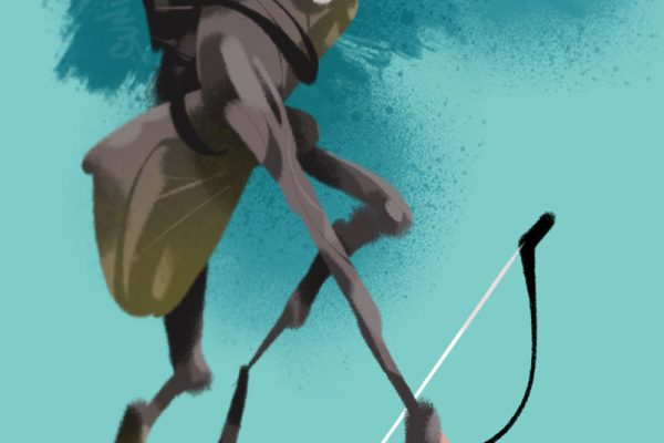 game of thrones ygritte ja jousi, kuvittaja / illustrator Petri Suni