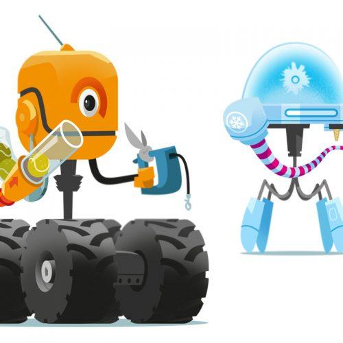 robot stadissa robotti-tapahtuma, kuvittaja / illustrator Petri Suni